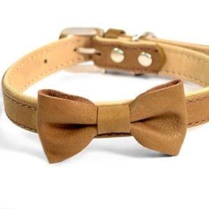 Marth Stewart Leather Bow Dog Collar